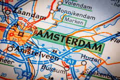 Amsterdam-Stadt auf einer Straßenkarte Lizenzfreies Stockbild