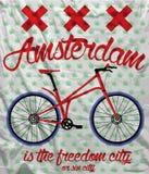 Amsterdam-Stadt-Fahrrad-T-Shirt Grafikdesign Stock Abbildung