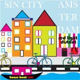 Amsterdam-Straße StyleTownhouse-Gekritzelbild Stock Abbildung