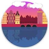 Amsterdam street facades cartoon vector illustration stock illustration