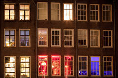 Amsterdam street at night Royalty Free Stock Photo