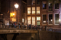 Amsterdam street at night Royalty Free Stock Image