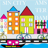 Amsterdam Street StyleTownhouse doodle picture Royalty Free Stock Photo