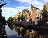 Amsterdam streets during day. Dutch shots pics Royalty Free Stock Photo
