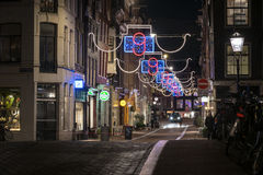 Amsterdam 9 streets at night Royalty Free Stock Photography