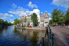 Amsterdam style canal houses in the Dutch capital royalty free stock image