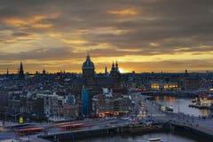 Amsterdam sunset stock photo