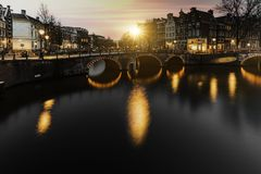 Amsterdam sunset cityscape Stock Photography