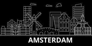 Amsterdam sylwetki linia horyzontu Holandie - Amsterdam wektorowy miasto, holenderska liniowa architektura, budynki amsterdam ilustracja wektor