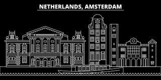 Amsterdam sylwetki linia horyzontu Holandie - Amsterdam wektorowy miasto, holenderska liniowa architektura Amsterdam linii podróż ilustracja wektor