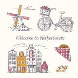 Amsterdam symbole w szkicowym stylu Obrazy Royalty Free