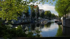 Amsterdam tour boat on Herengracht Canal stock footage