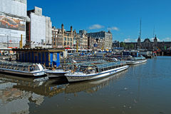 Amsterdam Tour Boats Royalty Free Stock Photography