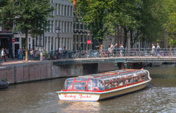 Amsterdam tourist boat Royalty Free Stock Photos