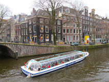 Amsterdam tourist boat 0825 Royalty Free Stock Photo