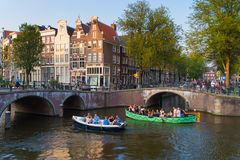 Amsterdam touristic scene royalty free stock photography