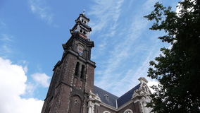 Amsterdam the tower of Westerchurch. Near Anne Franks house stock footage