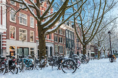 Amsterdam town square in winter Royalty Free Stock Photo