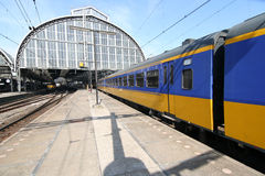 Amsterdam Train. Train entering the Amsterdam railway station stock photos