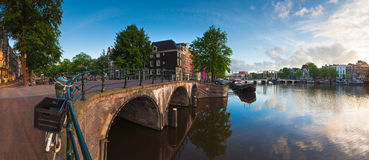 Amsterdam tranquil canal scene, Holland Stock Photo
