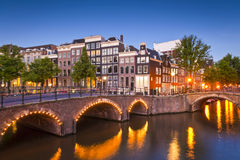 Amsterdam tranquil canal scene, Holland Royalty Free Stock Photos