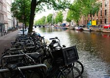 A typical Amsterdam canal royalty free stock photos