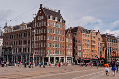Amsterdam urban view with streets and typical dutch houses Royalty Free Stock Photo