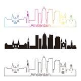 Amsterdam V2 skyline linear style with rainbow Stock Photo