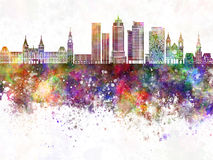 Amsterdam V2 skyline in watercolor background Royalty Free Stock Images