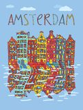 Amsterdam, vector card Royalty Free Stock Photo