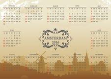 Amsterdam vektorkalender Royaltyfri Illustrationer