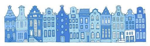 Amsterdam-Vektorskizzen-Handgezogene Illustration Karikaturentwurf bringt Fassaden in Folge in den Farben von blauen Porzellanfar vektor abbildung