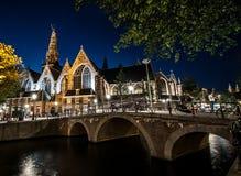 Amsterdam vid natt Arkivfoton