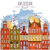 amsterdam Vieux bâtiments historiques Architecture traditionnelle des Pays-Bas illustration de vecteur