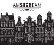 amsterdam Vieux bâtiments historiques et architecture traditionnelle des Pays-Bas illustration de vecteur