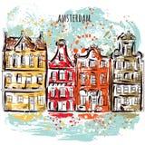 amsterdam Vieux bâtiments historiques et canal Architecture traditionnelle des Pays-Bas Art grunge tiré par la main coloré de sty illustration de vecteur