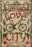 Amsterdam vintage bike man graphic vector t shirt design Stock Images