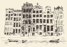 Amsterdam Vintage Engraved Illustration Hand Drawn Stock Image