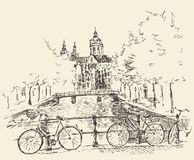 Amsterdam Vintage Engraved Illustration Hand Drawn Royalty Free Stock Images