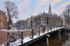 Amsterdam vinterbro arkivbilder