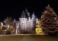 Amsterdam voor Kerstmis en Nieuwjaar wordt verfraaid dat Royalty-vrije Stock Foto's