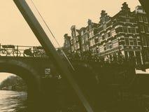 Amsterdam w czarny i biały fotografia stock