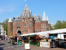 Amsterdam, The Waag monument, Nieuwmarkt square, food market Royalty Free Stock Images