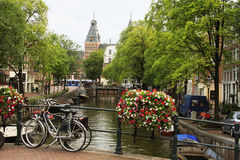 Amsterdam, water canal next to the houses Royalty Free Stock Photo