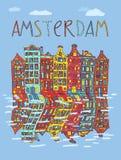 Amsterdam, wektor karta Zdjęcie Royalty Free