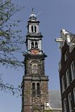 Amsterdam, Western Church (Westerkerk) with beautiful church tower, Holland Stock Image