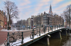 Amsterdam winter bridge stock images