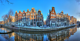 Amsterdam winter canal panorama royalty free stock image