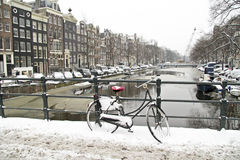Amsterdam in winter in the Netherlands Stock Photography