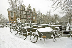 Amsterdam in winter in the Netherlands Stock Images